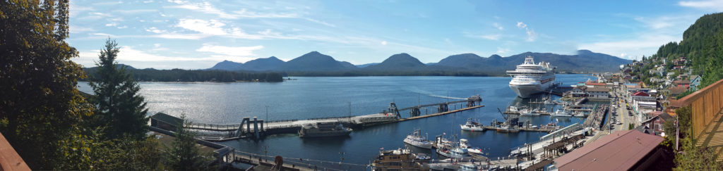 Panoramic view from the deck of this vacation rental in Ketchikan, Alaska.
