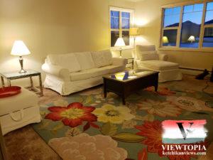Viewtopia Vacation Rentals - Ketchikan, Alaska - 2 bedroom vacation rental - living room ocean view 1